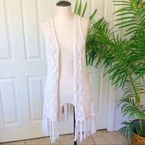 Mossimo L/XL Cream Crochet Boho Fringe Vest